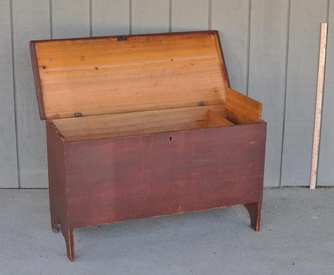 American Country Red Painted Blanket Chest - 2
