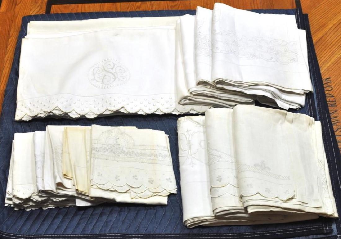 Group 6 Vintage Embroidered Linen Sheet Sets