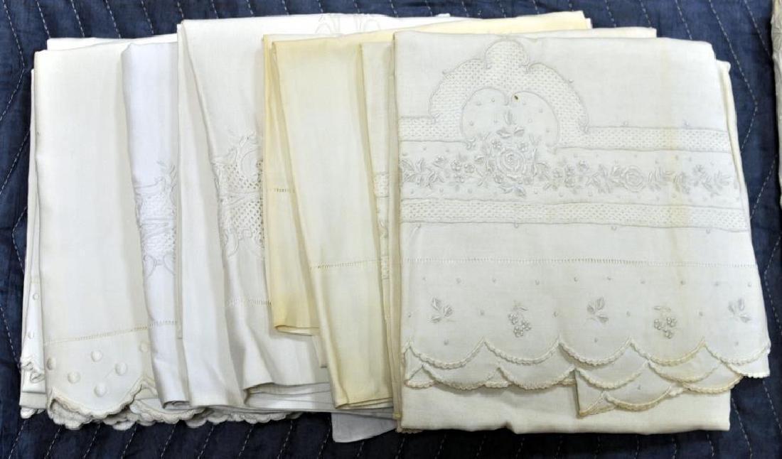 Group 6 Vintage Embroidered Linen Sheet Sets - 2