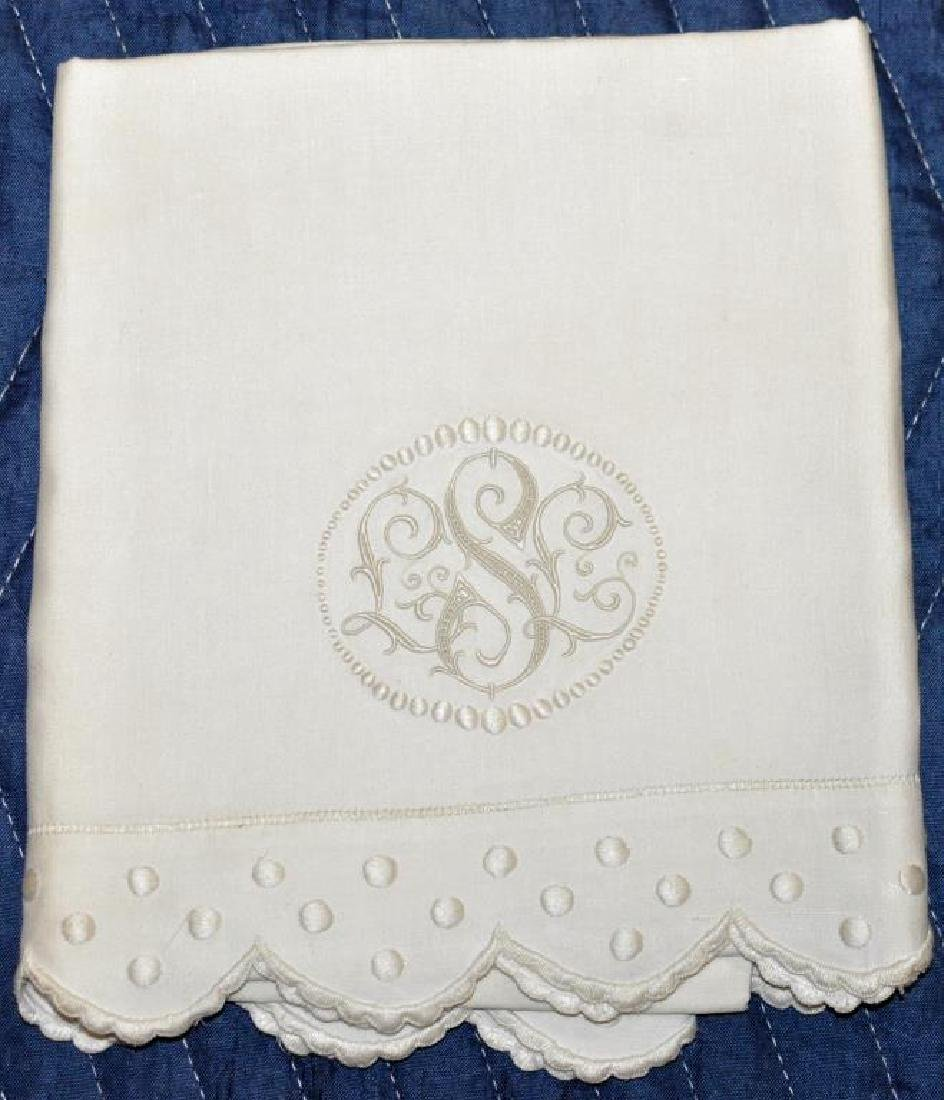 Group 6 Vintage Embroidered Linen Sheet Sets - 3