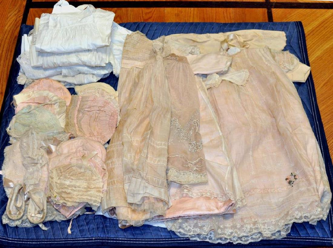 Group Vintage Silk, Linen & Lace Baby Clothing