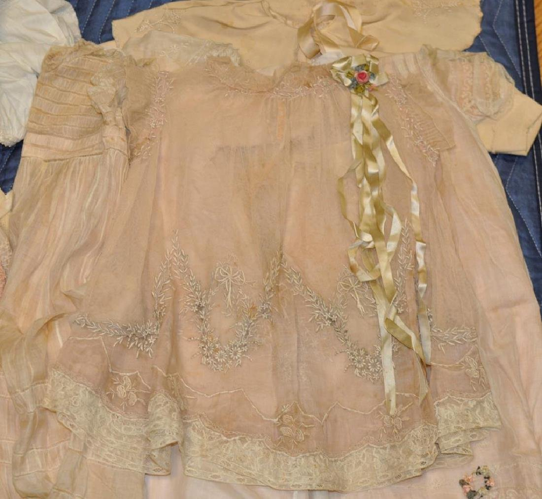 Group Vintage Silk, Linen & Lace Baby Clothing - 3