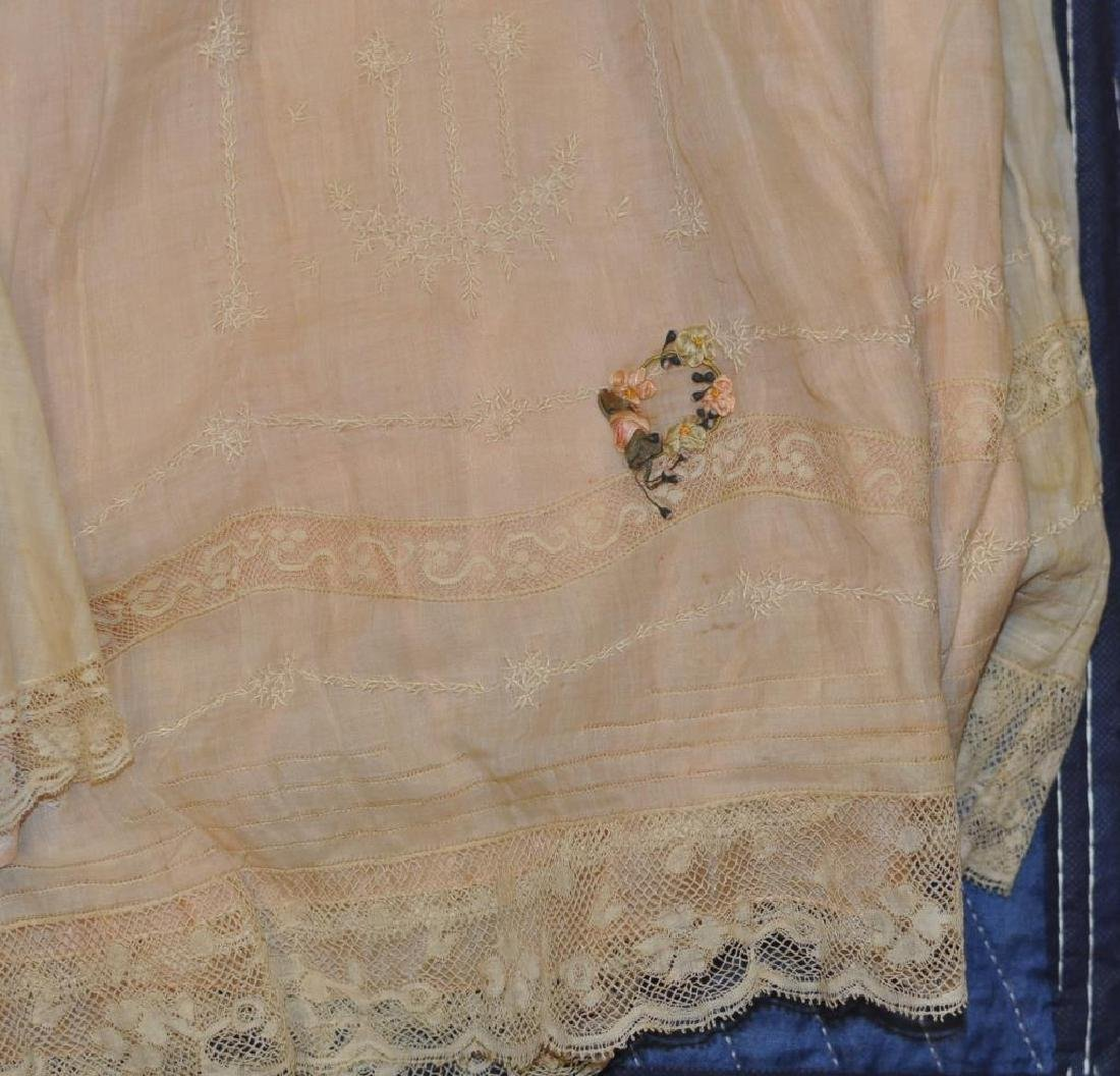 Group Vintage Silk, Linen & Lace Baby Clothing - 5