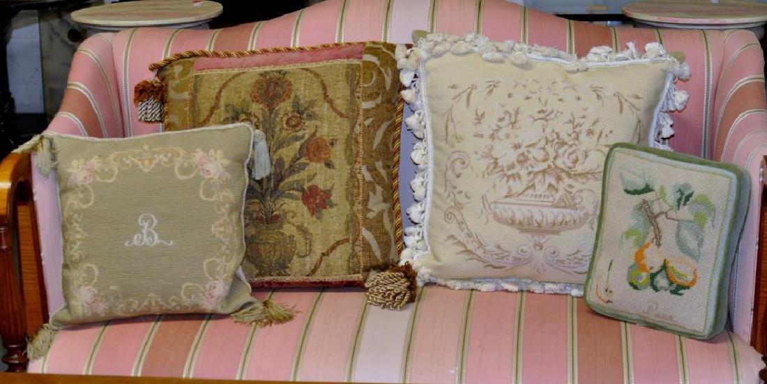 Four Needlepoint Throw Pillows