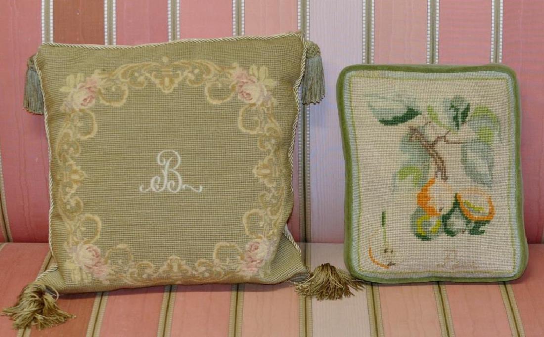 Four Needlepoint Throw Pillows - 4