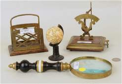 Group Four Brass  Wood Desk Items