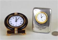 Two Small Desk Clocks Cartier  Bentley