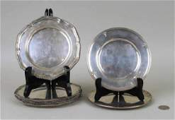 Set Eight Small Sterling Silver Plates