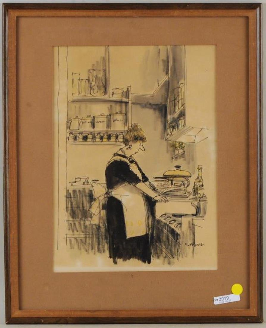 """Charles Saxon """"Lady With Casserole"""" MM/Paper"""