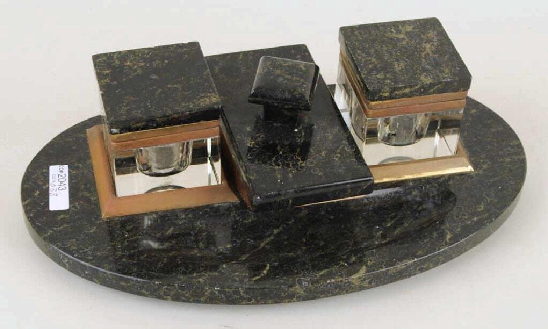 Art Deco Marble Inkwell Stand & Blotter