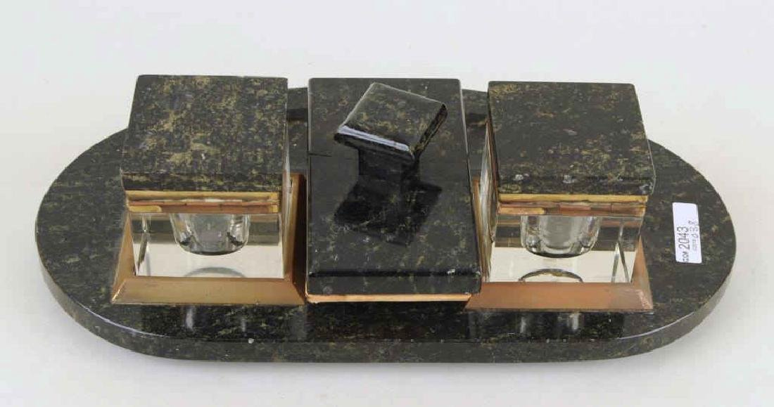 Art Deco Marble Inkwell Stand & Blotter - 2