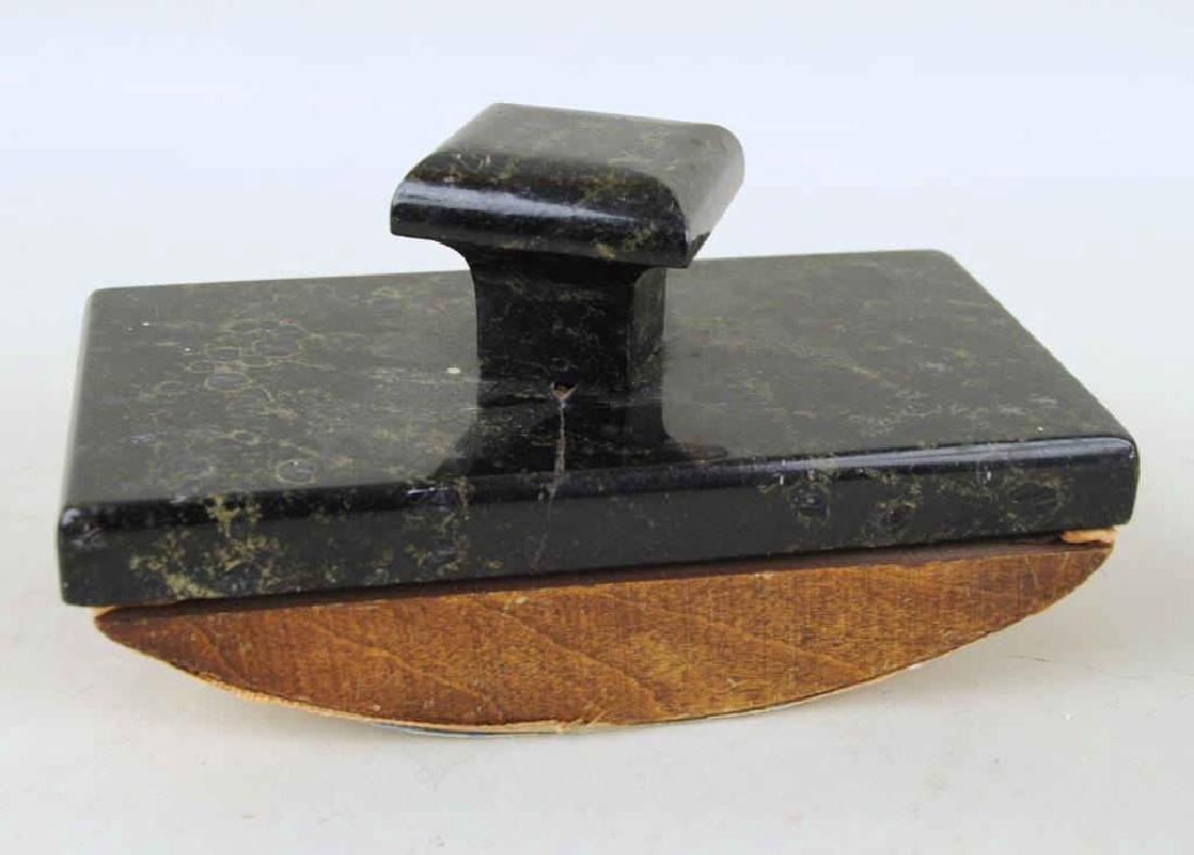 Art Deco Marble Inkwell Stand & Blotter - 7