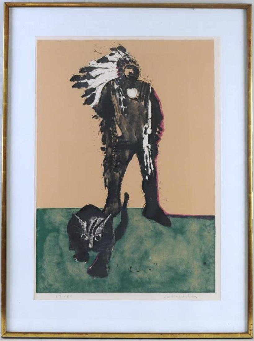 "Fritz Scholder Signed Litho ""Indian W/Cat"""