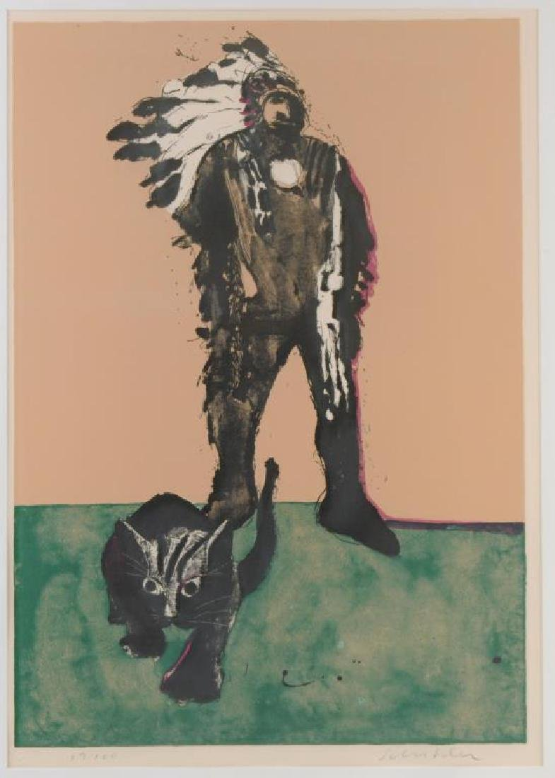 "Fritz Scholder Signed Litho ""Indian W/Cat"" - 3"