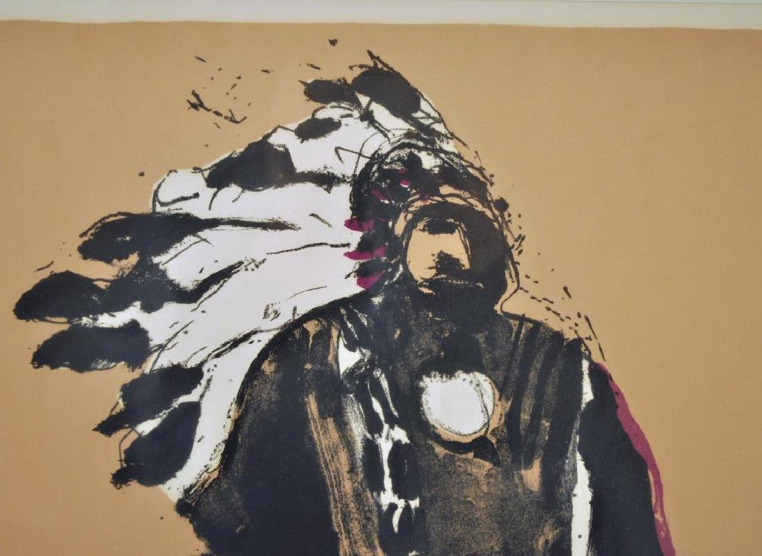 "Fritz Scholder Signed Litho ""Indian W/Cat"" - 6"