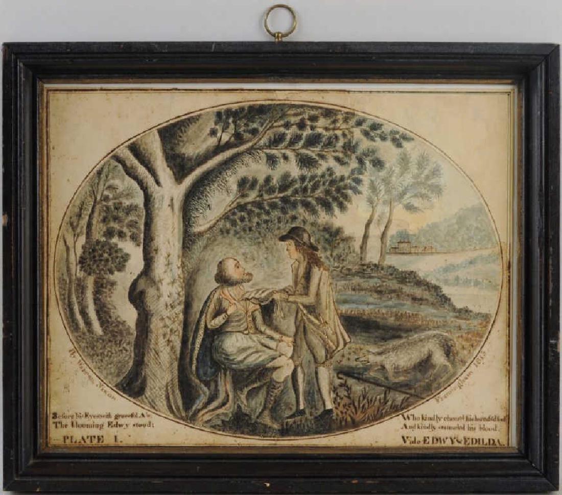 Folk Art Watercolor Design For Bookplate