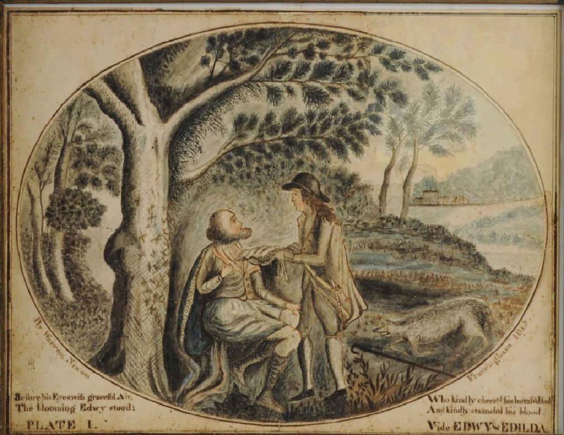 Folk Art Watercolor Design For Bookplate - 3