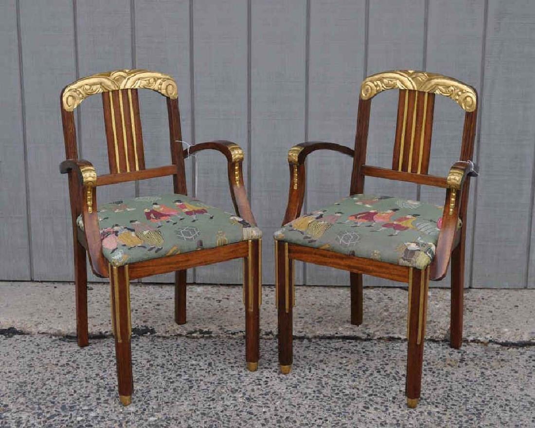 Pair Art Deco Carved Parcel Gilt Walnut Armchairs