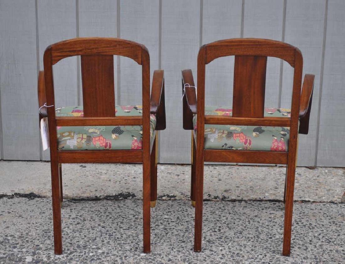 Pair Art Deco Carved Parcel Gilt Walnut Armchairs - 2