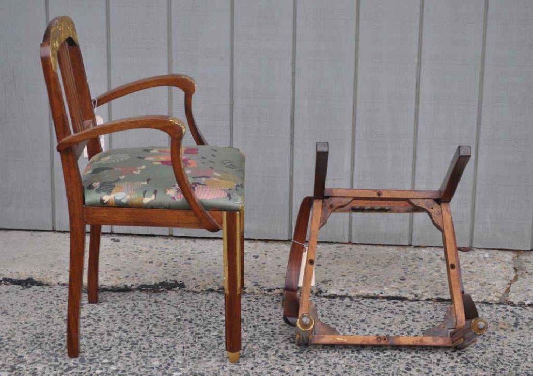 Pair Art Deco Carved Parcel Gilt Walnut Armchairs - 3