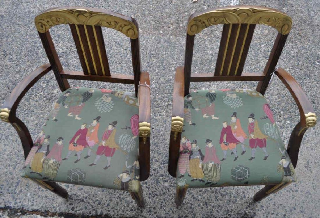 Pair Art Deco Carved Parcel Gilt Walnut Armchairs - 6