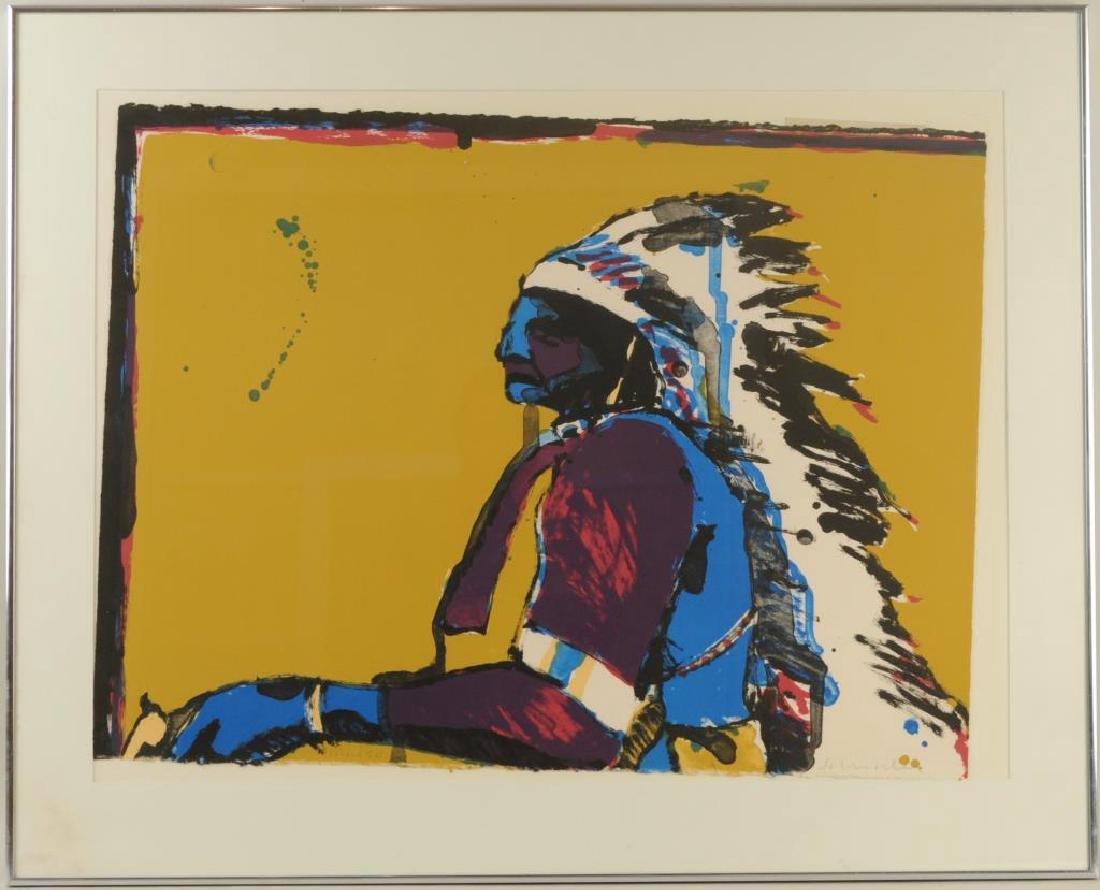 """Fritz Scholder Signed Litho """"Indian/Pistol"""""""
