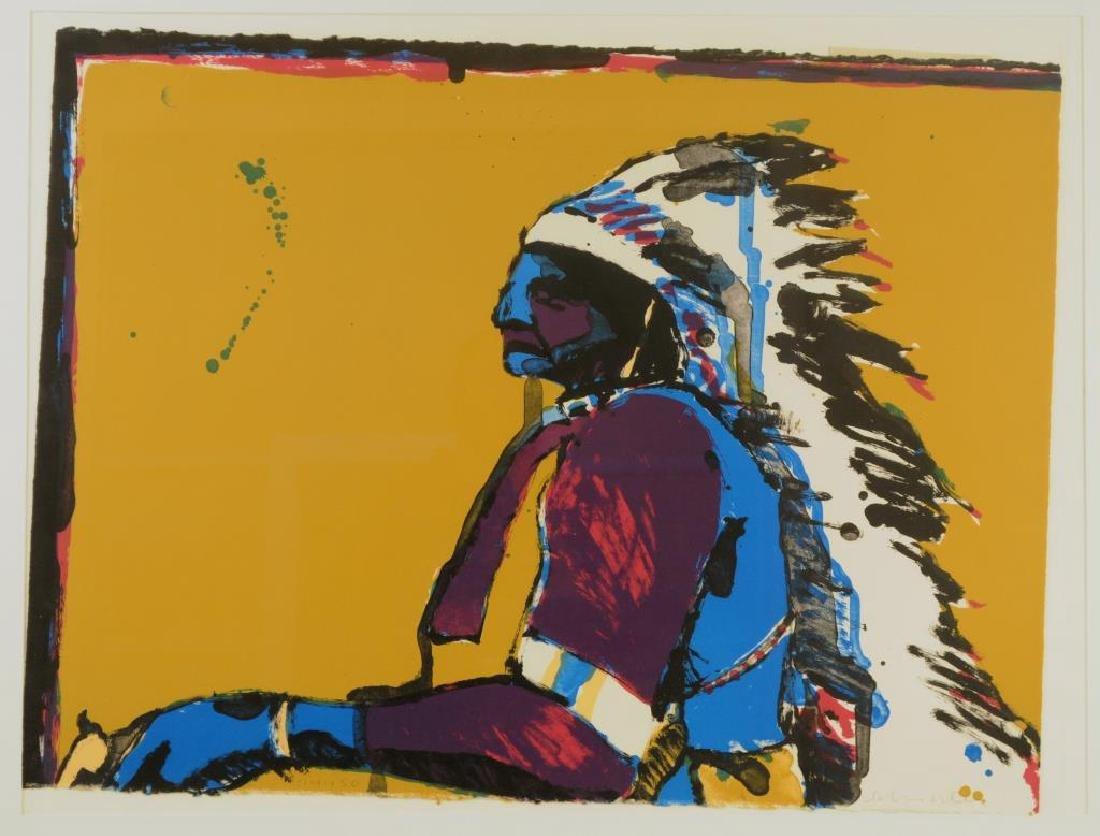 """Fritz Scholder Signed Litho """"Indian/Pistol"""" - 3"""