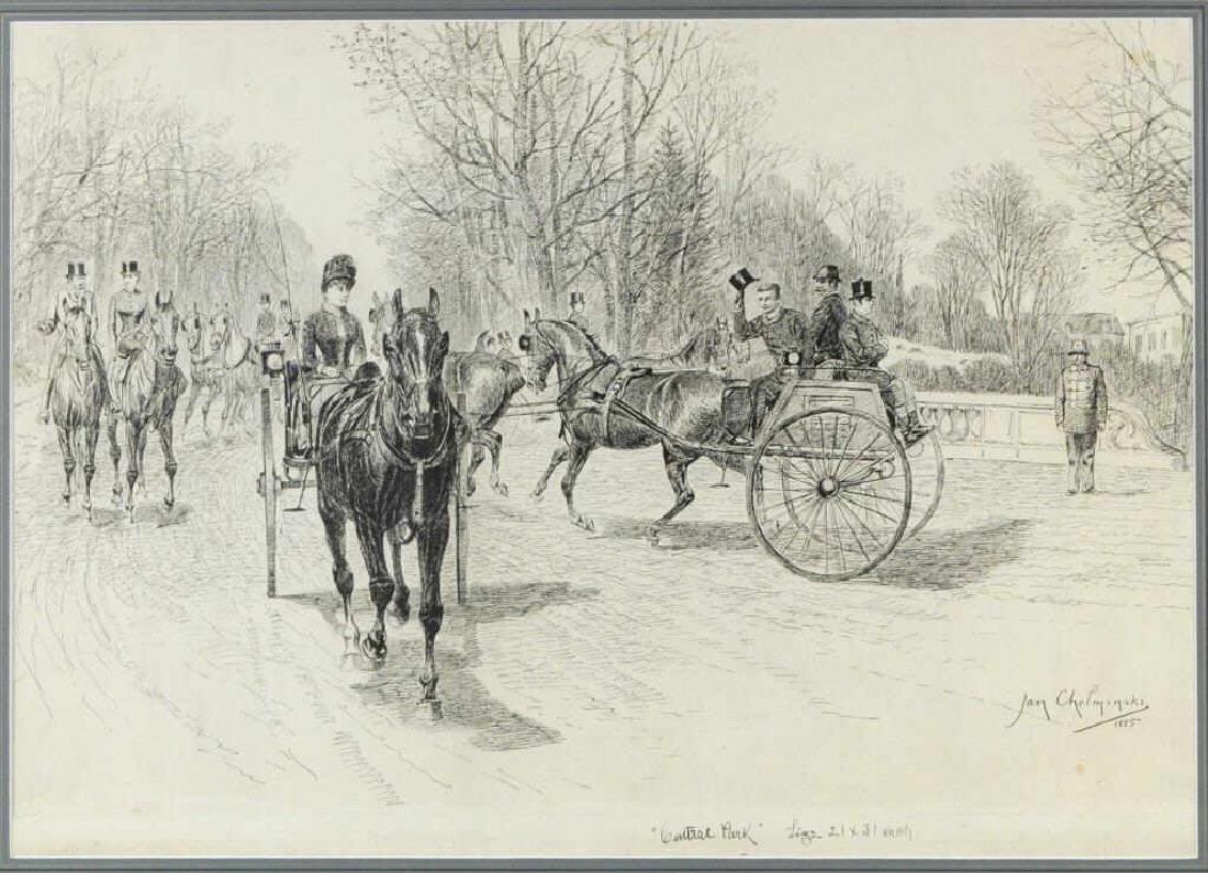 "Jan Van Chelminski ""Central Park"" Pen & Ink - 2"
