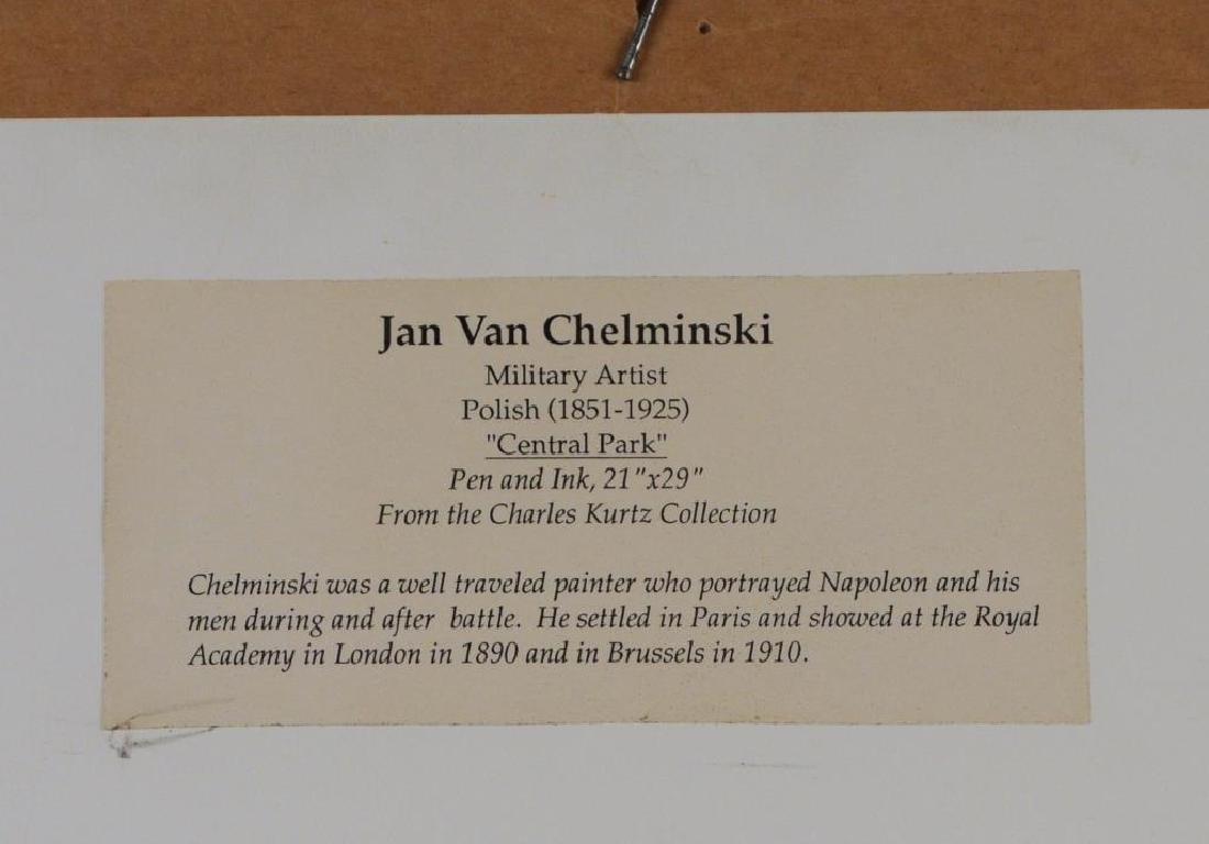 "Jan Van Chelminski ""Central Park"" Pen & Ink - 5"
