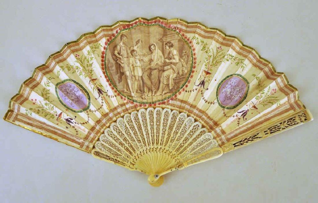 Harriet Beecher Stowe Family Att. Hand Painted Fan