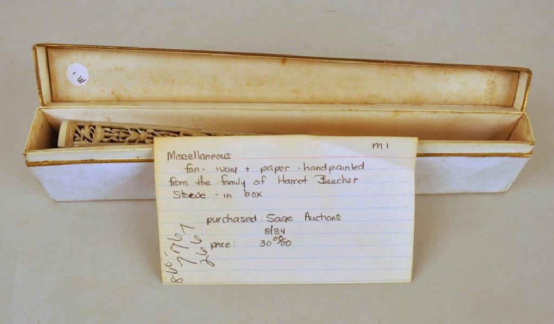 Harriet Beecher Stowe Family Att. Hand Painted Fan - 3