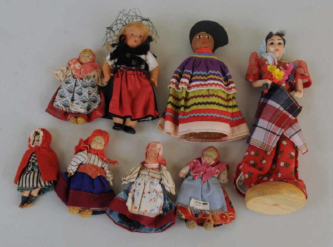 Group Eight Small Ethnic Dolls