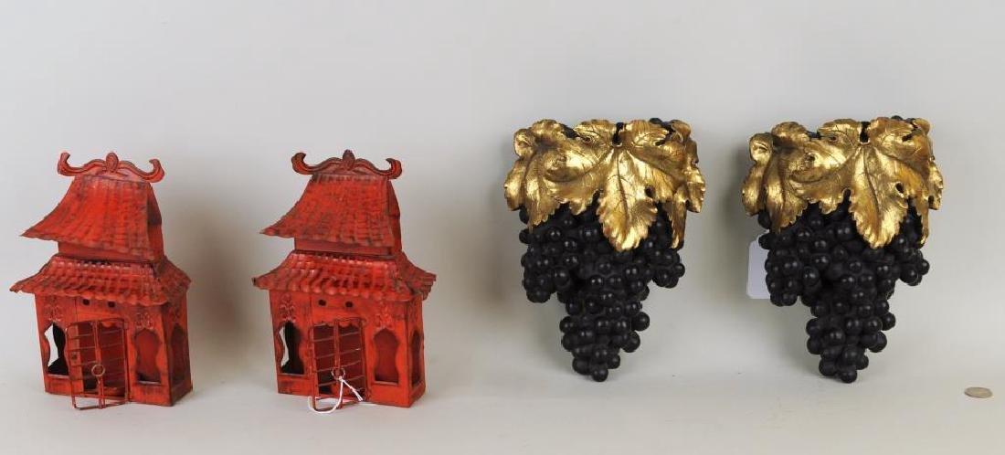 Pair Grape Form Wall Pockets, Pair Tole Sconces
