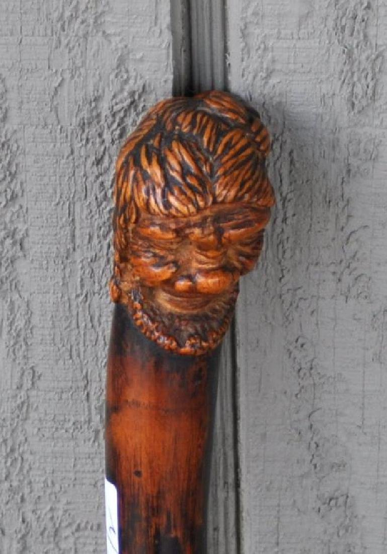 Two Carved Wood Figural Canes - 5