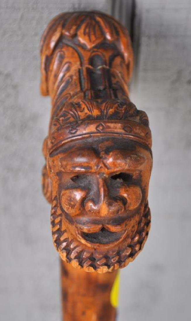 Two Carved Wood Figural Canes - 6
