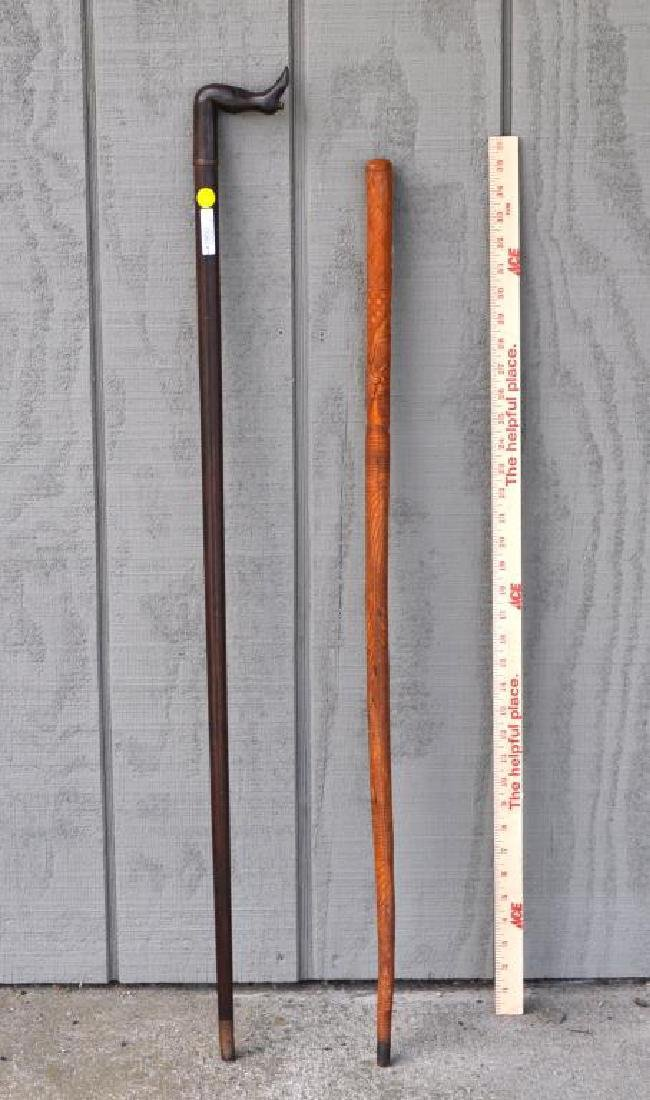 Two Folk Art Carved Wood Canes