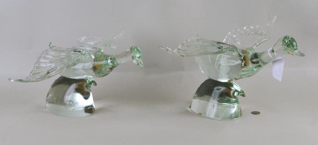 Pair Blown Glass Duck Figures