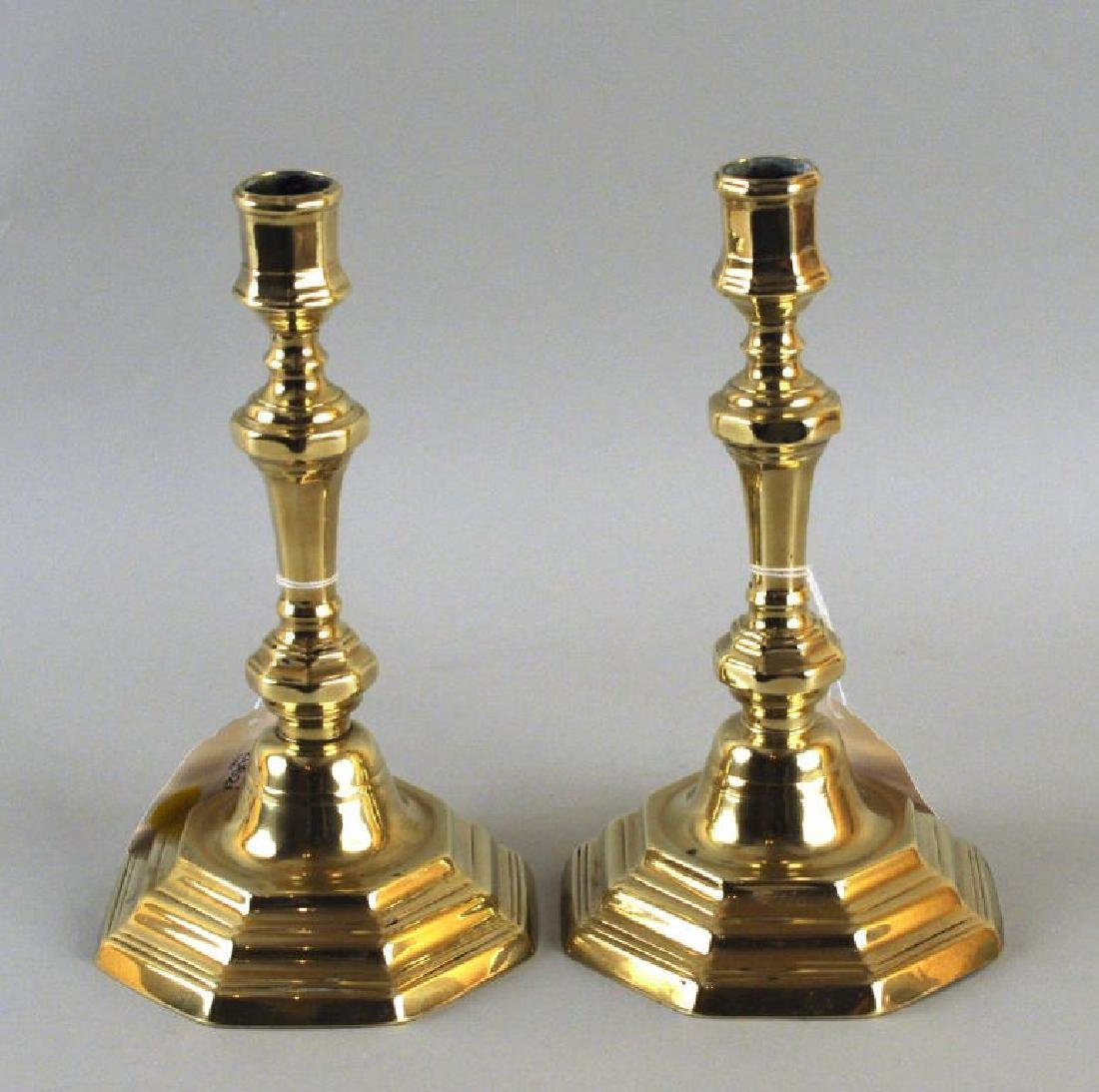 Pair French 18th Century Brass Candlesticks
