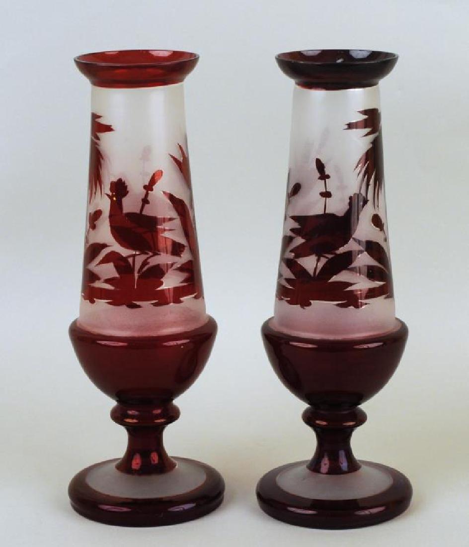 Pair Bohemian Cranberry Glass Vases