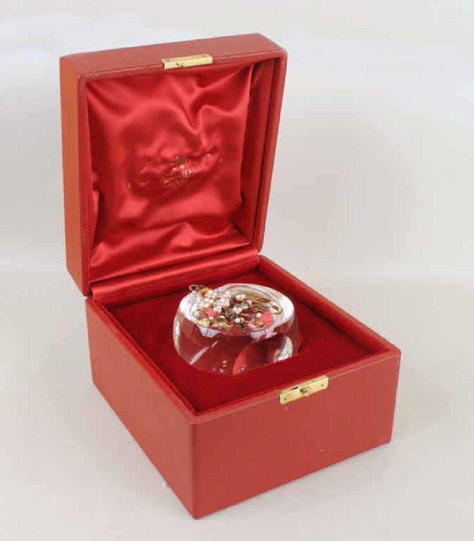 Steuben Crystal 18K Gold Vermeil & Pearl Ornament