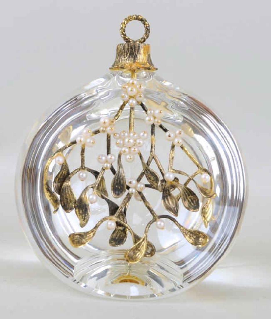 Steuben Crystal 18K Gold Vermeil & Pearl Ornament - 2