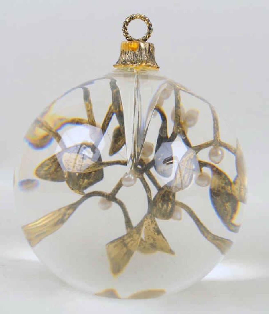 Steuben Crystal 18K Gold Vermeil & Pearl Ornament - 3