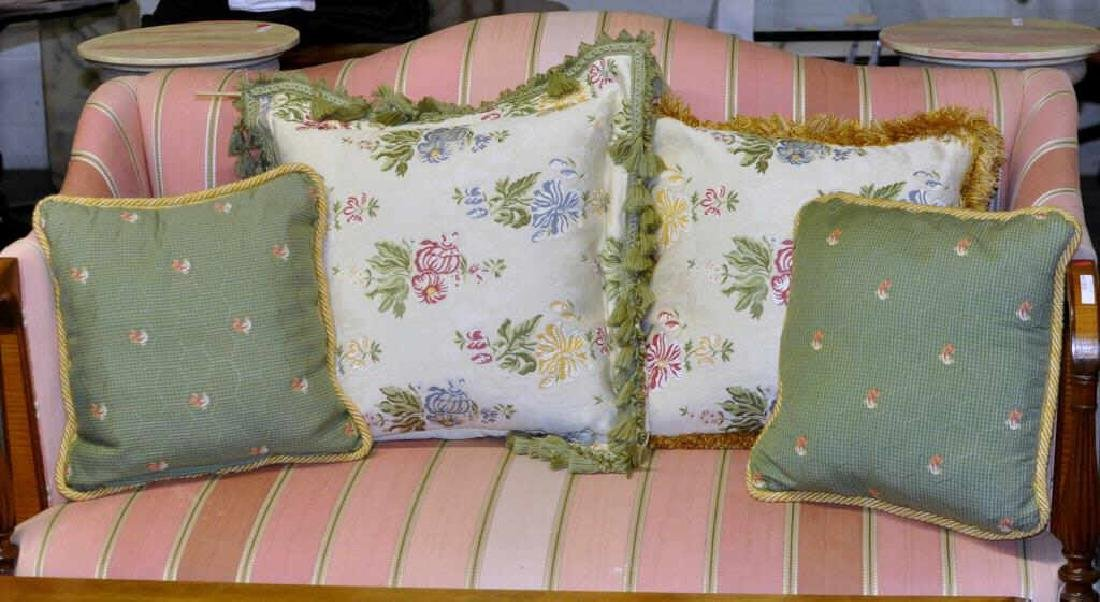 Four Embroidered Throw Pillows
