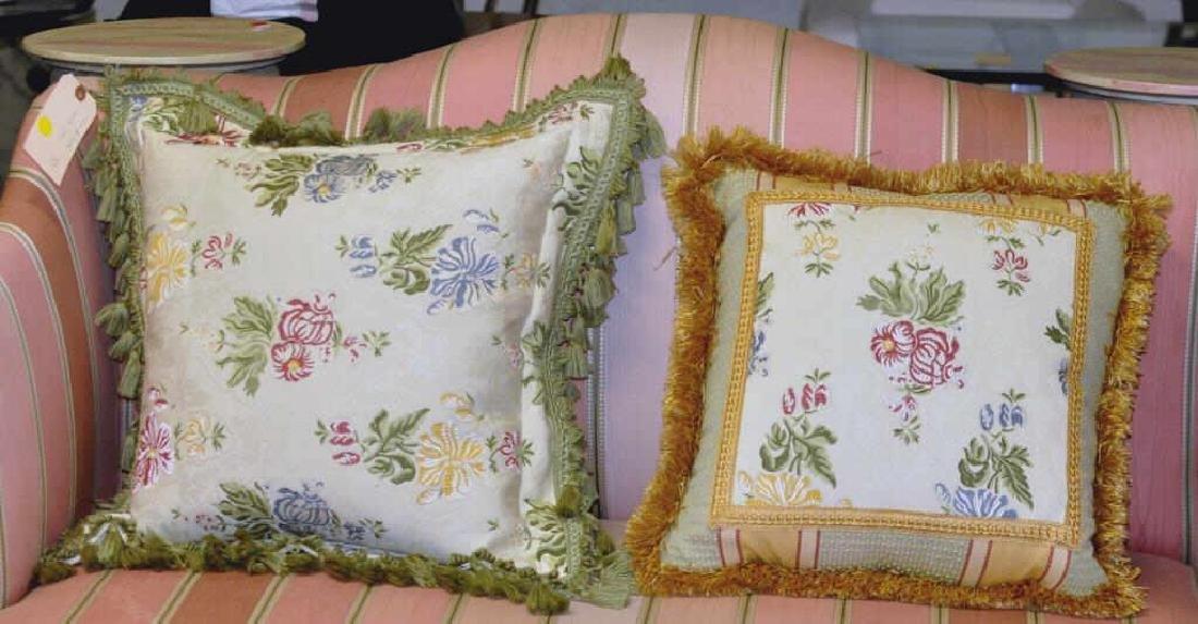 Four Embroidered Throw Pillows - 2