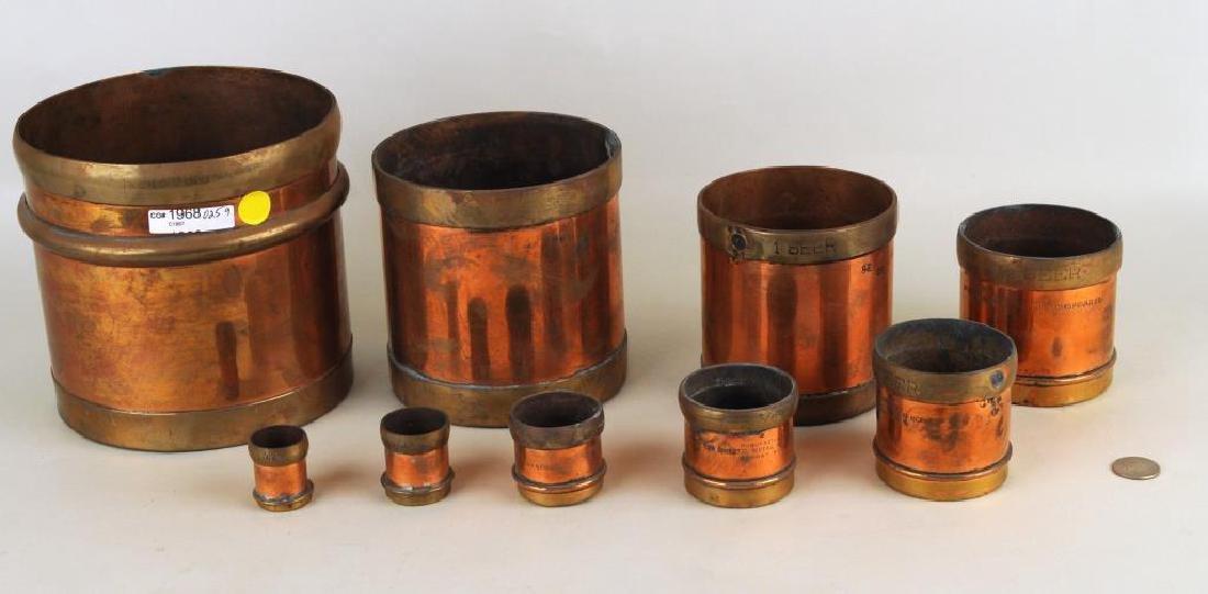 Set Nine Indian Graduated Copper/Brass Measures