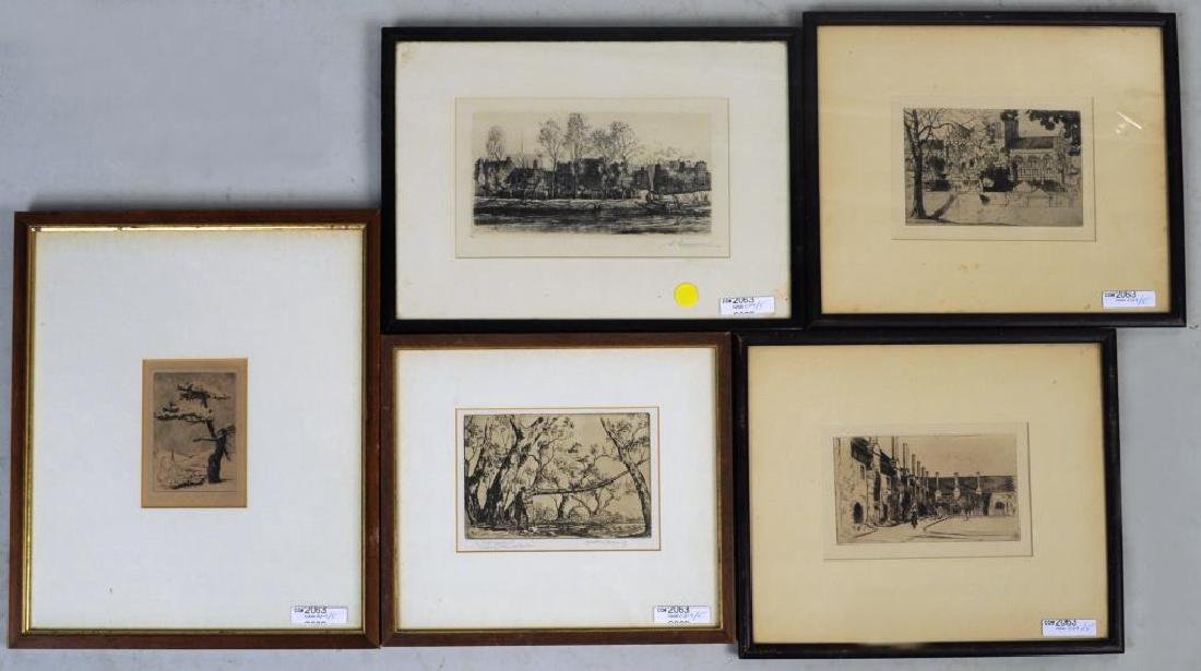 Group Five Small Framed Etchings