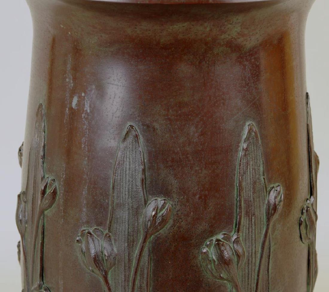 Victorian Bronzed Metal Lamp, Tulip Decoration - 5