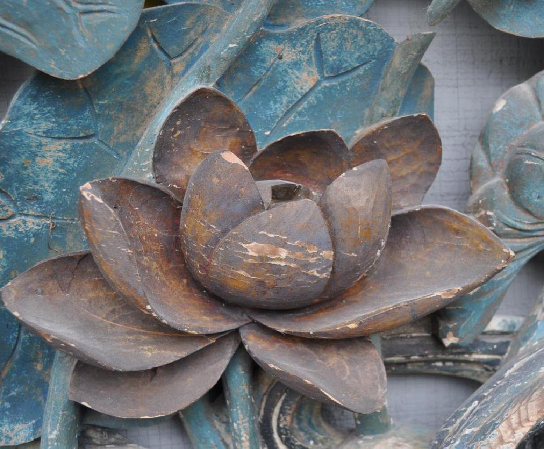 Large Chinese Carved & Polychromed Wood Panel - 7