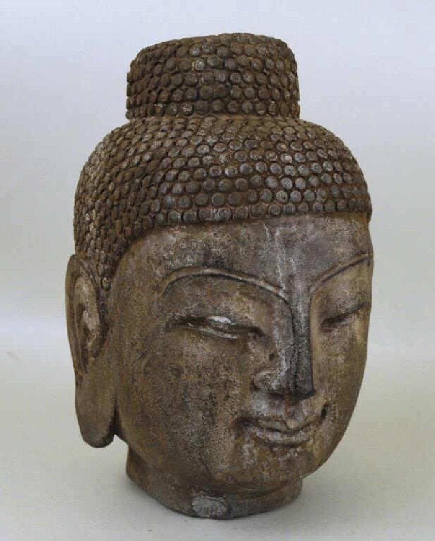 Asian Cast Stone Head Of Buddha
