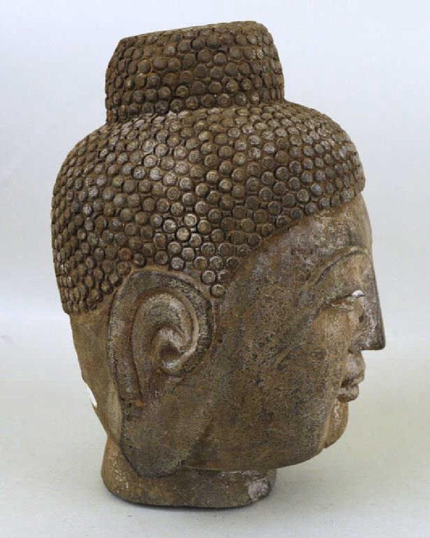 Asian Cast Stone Head Of Buddha - 3